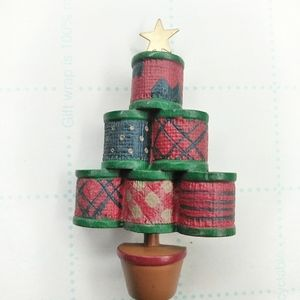 Hallmark Ribbon Spool Christmas Tree Resin Pin